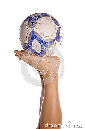 Soccer ball on feet