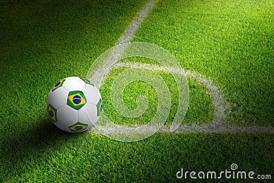 Soccer ball in field corner