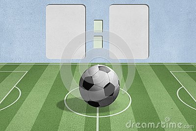Soccer ball on the field with score background