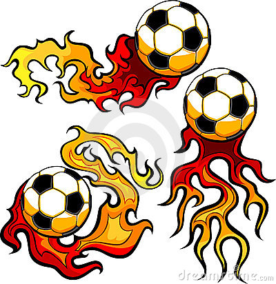 Soccer Ball Flaming Design Template