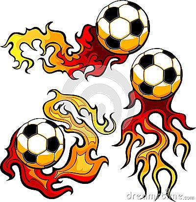 Soccer Ball Flaming Design Template