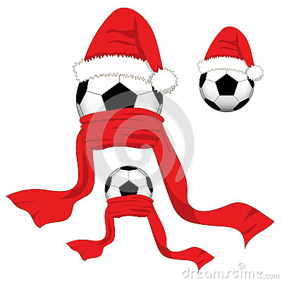 Free Soccer Ball. Football Ball With Santa Hat And Red Scarf. Christmas Day. Vector Illustration. Royalty Free Stock Image - 81635706