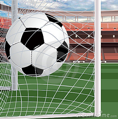 A soccer ball in the gate