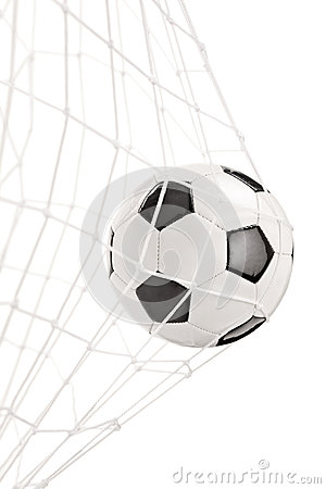 Soccer ball in a goal net
