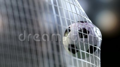 Soccer ball in goal net with slowmotion. Slowmotion football ball in the net. Soccer ball in goal net with green grass