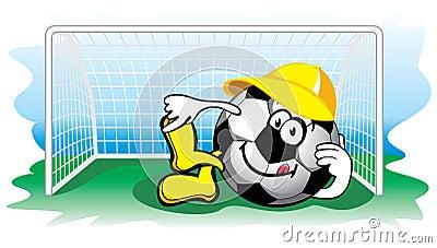 Soccer ball in the goal. Vector.
