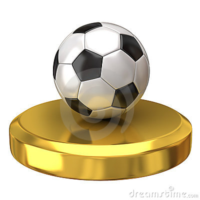 Soccer ball on gold podium