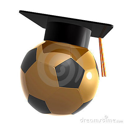 Soccer ball graduation celebration icon