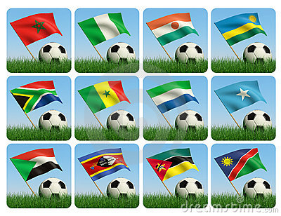 Soccer ball in the grass. African flags. 3d