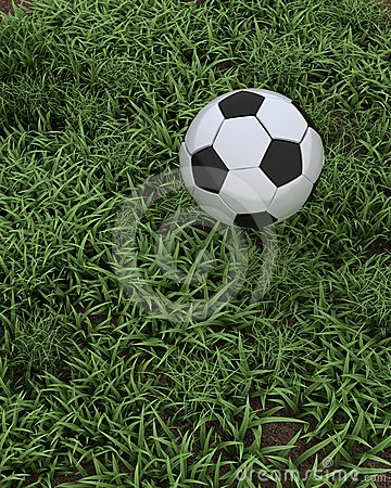 Soccer ball on grass pitch