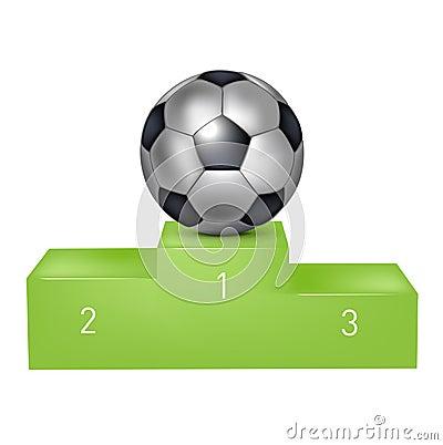 Soccer ball on green pedestal