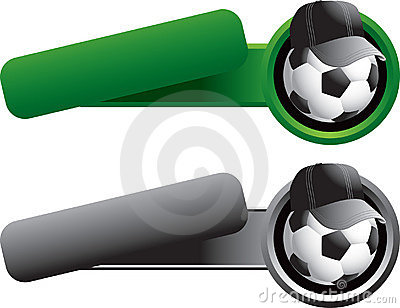 Soccer ball with hat on tilted banner templates