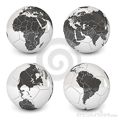 Soccer ball with an image of earth