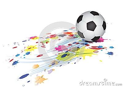 Soccer ball and ink splatter