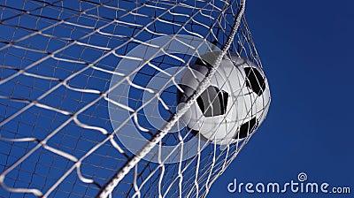 Soccer ball kicked into a goal