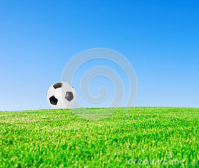 Soccer ball in meadow