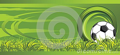 Soccer ball on the meadow. Decorative banner
