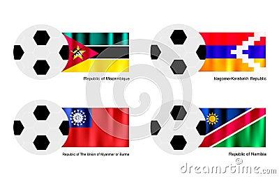 Soccer Ball with Mozambique, Nagorno Karabakh, Mya