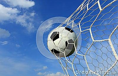 Soccer ball in net.
