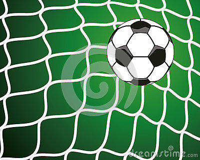 vector soccer ball in net, goal symbol