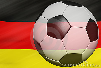 Soccer ball over the Germany flag 3d
