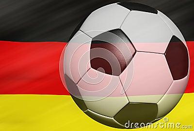 Soccer ball over the Germany flag 3d