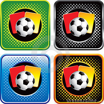 Soccer ball and penalty cards on web buttons