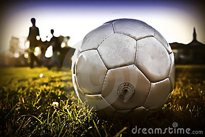 Soccer ball with people silhouette t01