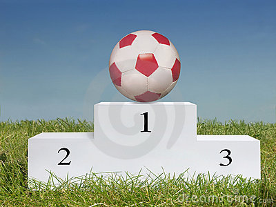 Soccer ball on podium