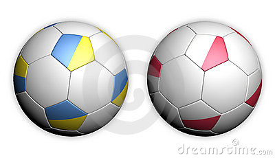 Soccer ball with Poland and Ukraine flag Euro 2012