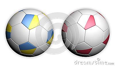 Soccer ball with Poland and Ukraine flag Euro 2012