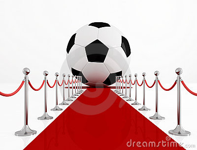 Soccer ball on the red carpet