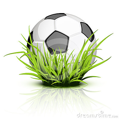 Soccer ball on reflecting grass