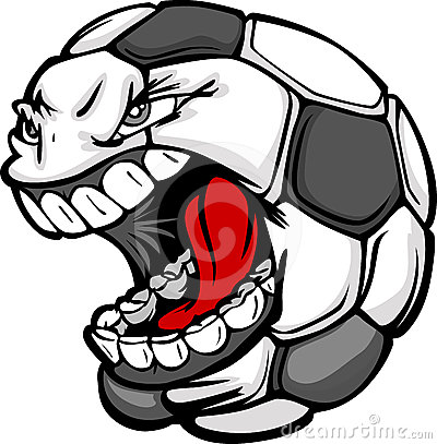 Soccer Ball Screaming Face Cartoon  Image
