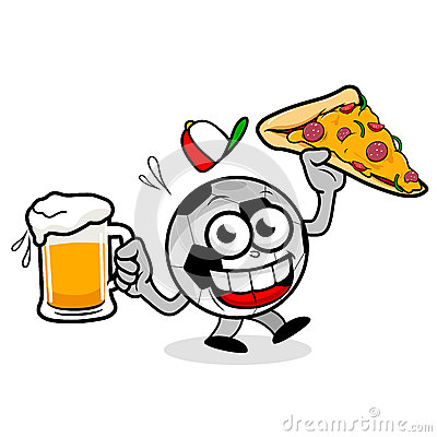 Soccer Ball Serving Beer And Pizza Stock Vector - Image: 41496789