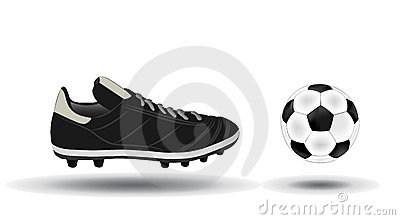Soccer ball and shoes illustration