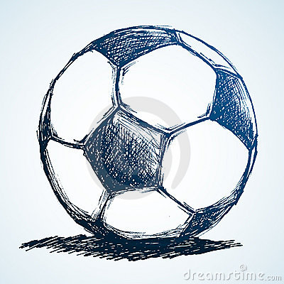 Illustration of a soccer ball in sketch/doodle style.