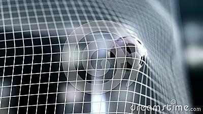 Soccer ball slow motion to the goal. Football ball slowmotion 4k rendering. HQ vector illustration