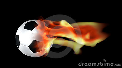 Soccer ball surrounded by flames