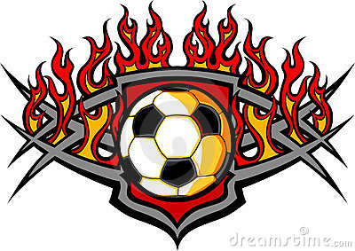 Soccer Ball Template with Flames Image