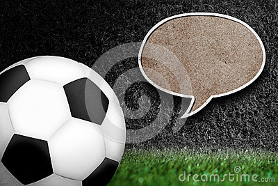 Soccer ball with text bubble.