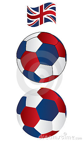 Soccer ball of UK with flying Flag