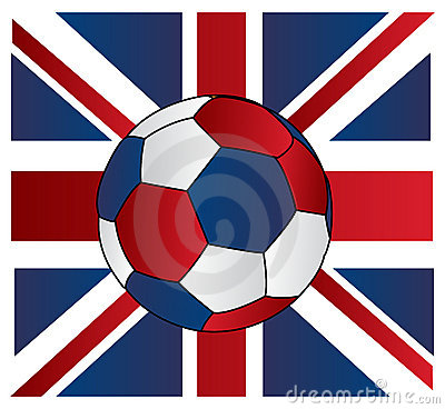 Soccer ball of UK with Union jack