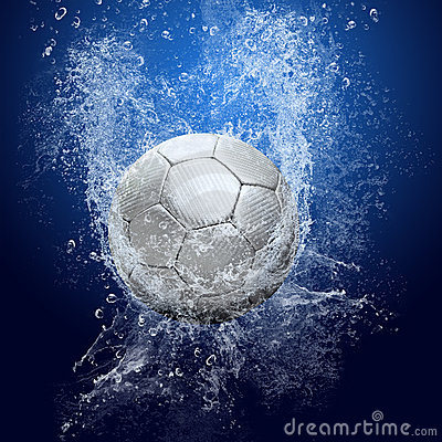 Soccer ball under water