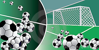 Soccer balls abstract background.