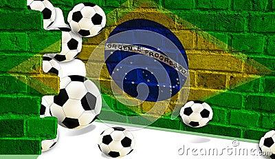 Soccer balls, Brazil flag
