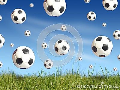 Soccer balls falling