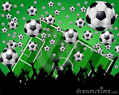 Soccer Balls, Field and Fans on green background