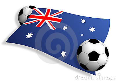 Soccer Balls & Flag Of Australia Royalty Free Stock Photos - Image: 12030588