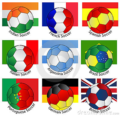 Soccer balls of with flags